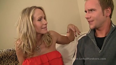 Gorgeous MILF takes young boy