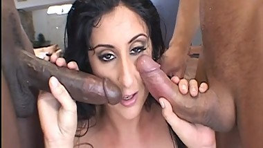 This milf is getting fucked by two dicks