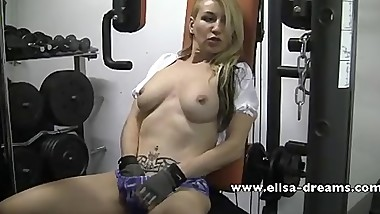 Dirty workout with my huge black dildo