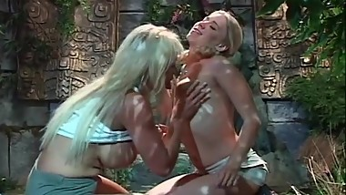 Big boobed MILF likes her young blonde babe