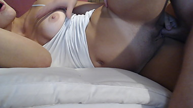 Hubby CUMS hard all over wifes TITTIES