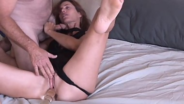 Super sexy slim old spunker masturbates & fucks the cameraman