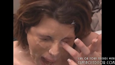 Hot Brunette MILF With Huge Tits Covered In Cum