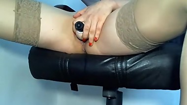Girl bored in the office and fingering for her boyfriend