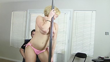 Pole dancing goddess rapture beats mans ass with paddle