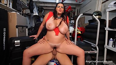 busty Angelina Castro fucks and takes cumshot in bike garage
