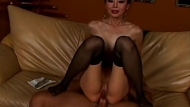 skinny busty chinese milf gets her tight pussy and ass fucked by black dick