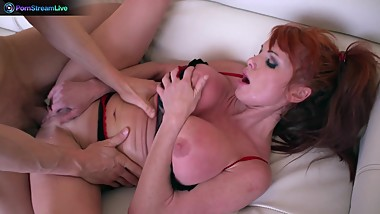 Everyone's favorite busty redhead Taylor Vayne getting a hard fuck