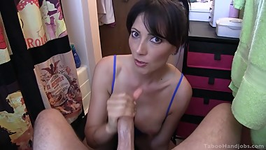 Dirty Talking Mommy Strokes & Sucks her Step Son's Cock