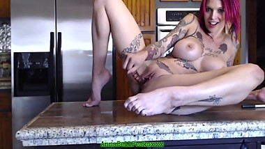 Hot MILF Anna Bell Peaks Fucks Her Tight Pussy In Kitchen