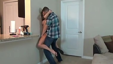 Stepson wrestles and fucks stepmom