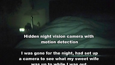 HIDDEN NIGHT VISION CAMERA CAUGHT WIFE MASTURBATING HUMPING & RIDING