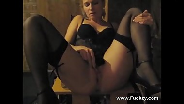 Raunchy Blonde Soccer Mom In Lingerie Toys Cunt And Gets Fucked