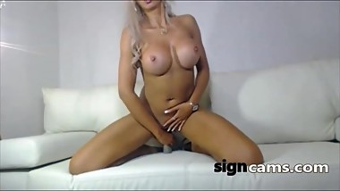 Beautiful blonde milf dildo riding