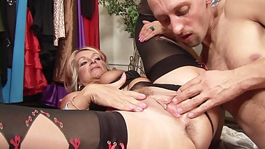 Horny granny likes to fuck while at work