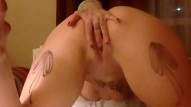 big tit tattooed blonde touches peirced pussy