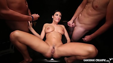 Big boobed Hottie gets her dreams tested in this gangbang