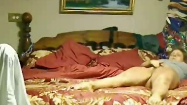 My mom home alone caught cumming on bed