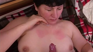 Mom with hairy pubis, sweet boobs & 4 guys